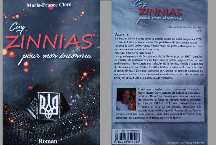 La couverture du roman Cinq zinnias pour mon inconnu